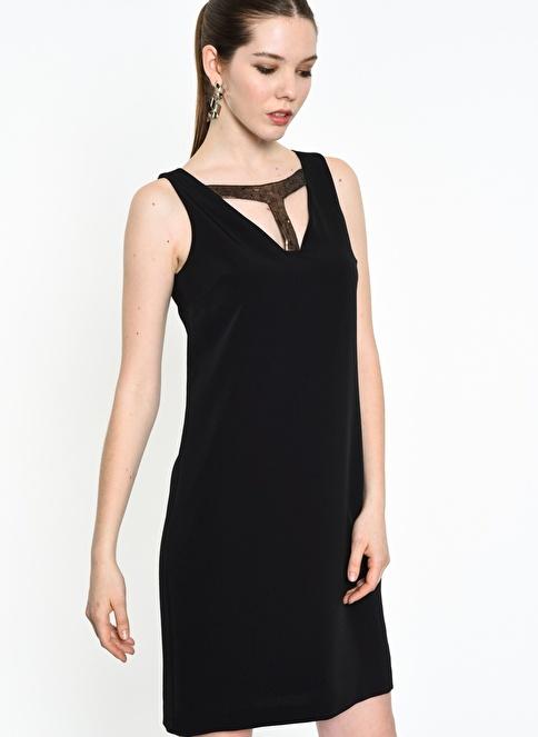 Agenda Payet Detaylı Elbise Siyah